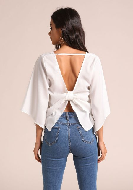Off White Bow Back Bell Sleeve Blouse
