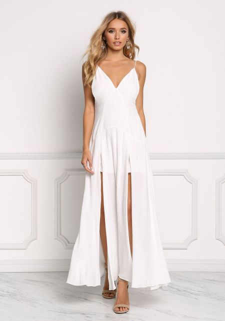 White Gauze Two Slit Maxi Dress