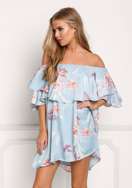 Dusty Blue Off Shoulder Layered Floral Shift Dress