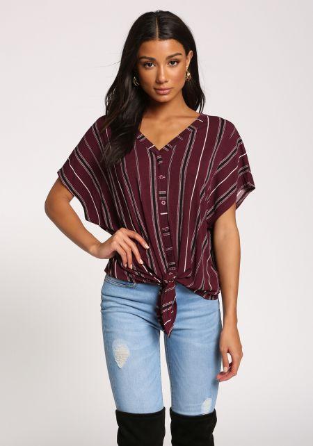 Burgundy Pinstripe Tie Front Knit Top
