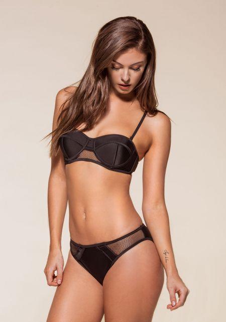 Black Bustier Mesh Trim Bikini Set