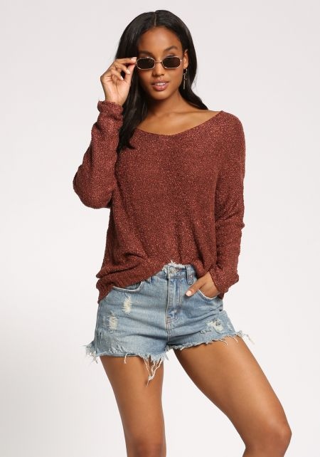 Rust Marled Knit Pullover Sweater Top