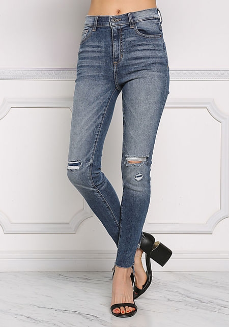 Denim Knee Slash High Rise Skinny Jeans