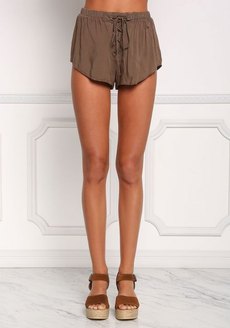 Olive Lace Up Mini Shorts