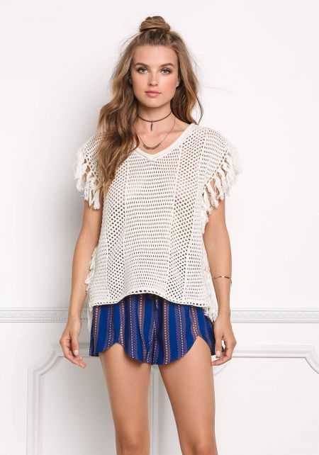 Ivory Sweater Knit Tassel Top