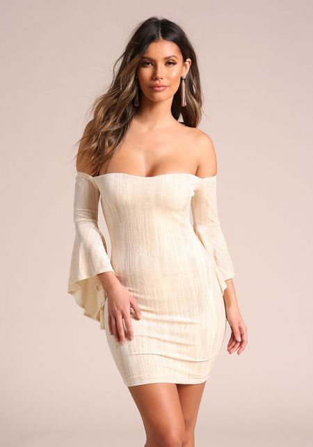 Cream Sparkled Velvet Bell Sleeve Bodycon Dress