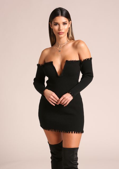 Black V Plunge Frayed Ribbed Knit Bodycon Dress