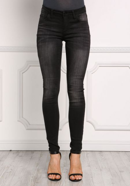 Black Low Rise Sandblasted Skinny Jeans