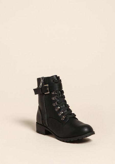 Black Leatherette Combat Boots