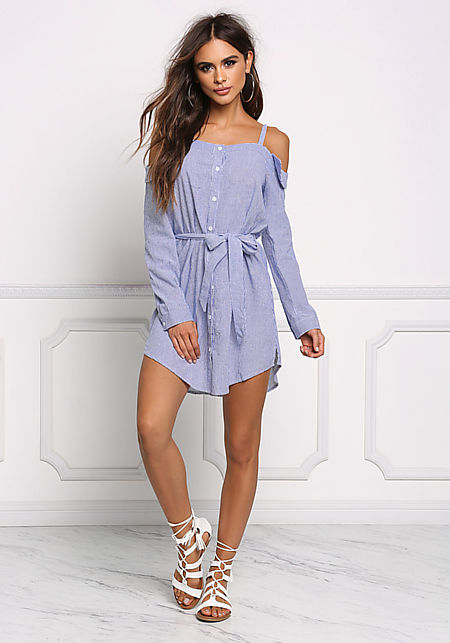 Blue Pinstripe Cold Shoulder Shift Dress