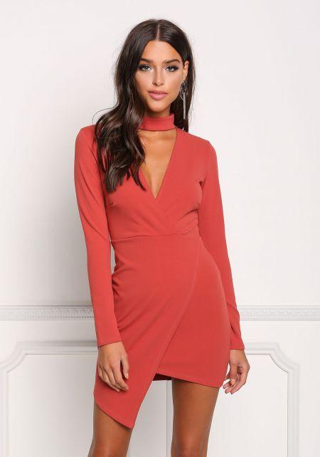 Coral Choker Plunge Asymmetrical Dress