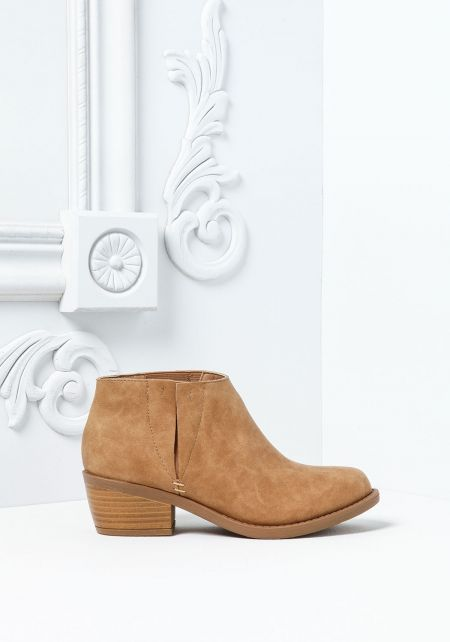 Camel Leatherette Ankle Booties