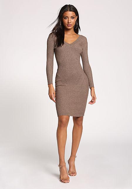 Mocha V Neck Ribbed Knit Bodycon Dress