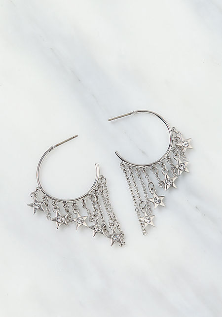 Silver Chain C Hoop Earrings