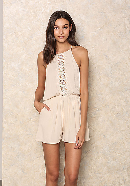 Natural Crepe Crochet Trim Romper