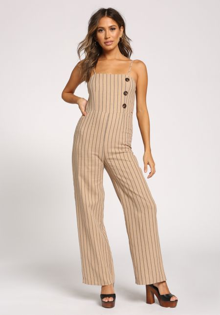 Taupe Pinstripe Single Breasted Jumpsuit