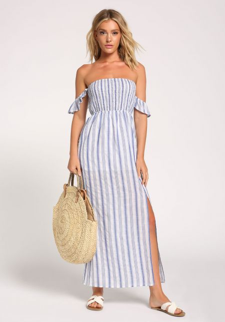 Blue Stripe Slit Maxi Dress