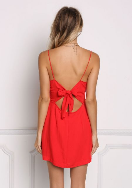 Red Tie Back Shift Slip Dress