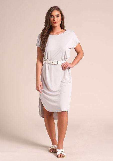 Grey Hi-Lo Shift Midi Dress