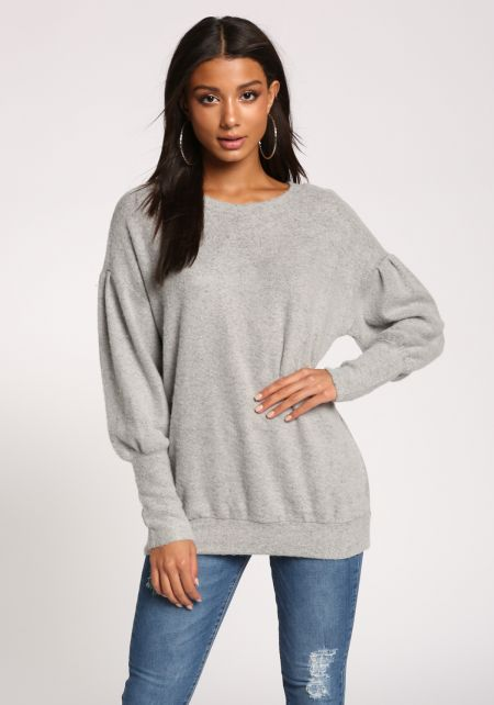 Heather Grey Puff Sleeve Pullover Sweater Top