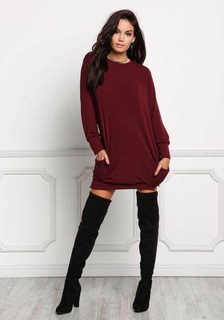Junior Clothing Burgundy Pullover Sweater Dress