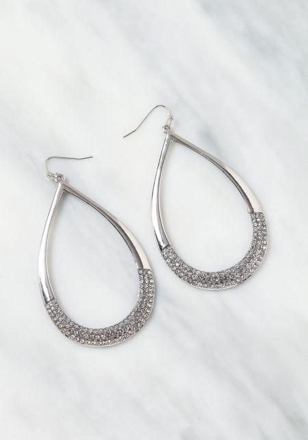 Silver Teardrop Rhinestone Earrings