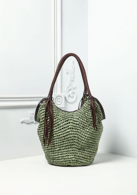 Green Woven Braided Handle Bag