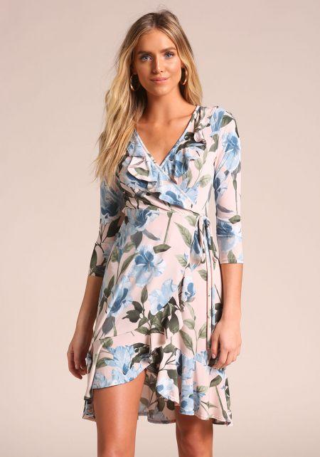 Blush Floral Faux Wrap Ruffle Dress