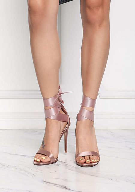 Mauve Satin Ribbon Lace Up Heels