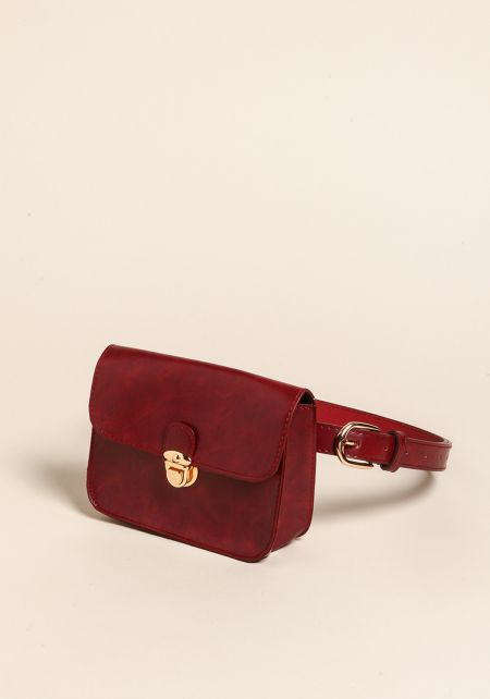 Burgundy Leatherette Fanny Belt