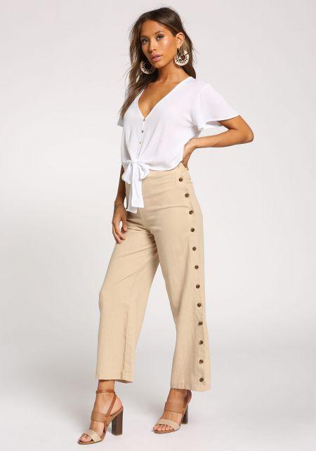 Sand Side Button Linen Pants