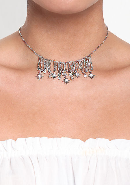Silver Rhinestone Star Dangle Choker