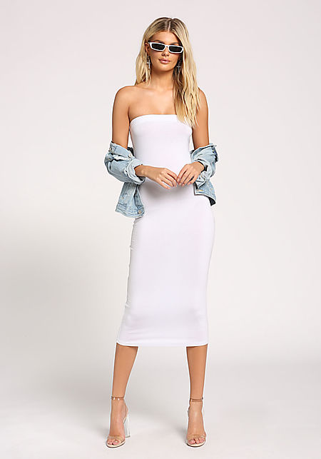 White Strapless Midi Dress