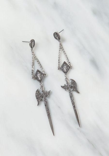 Silver Sword Dangle Earrings