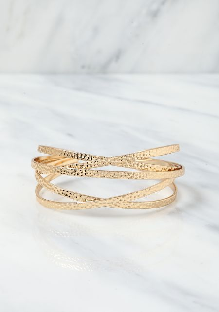 Gold Engraved Cross Over Cuff Bracelet