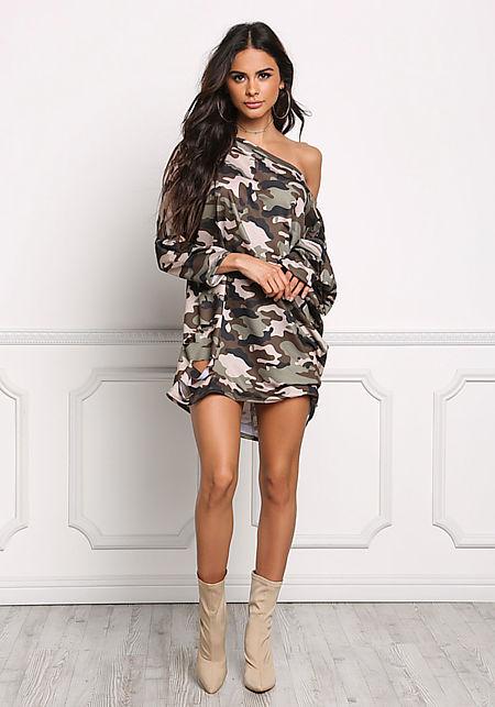 Camouflage Slashed Off Shoulder Shift Dress