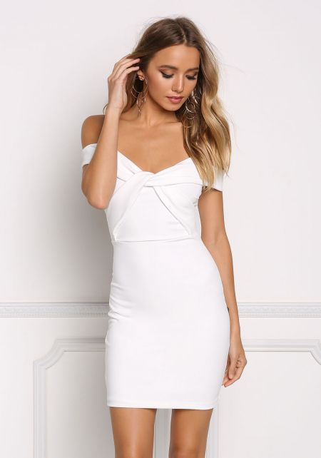 Ivory Cold Shoulder Twisted Bodycon Dress