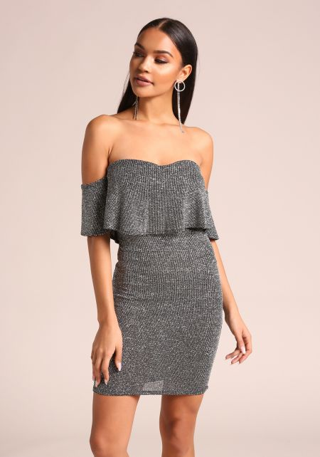 Silver Sparkled Layered Bodycon Dress