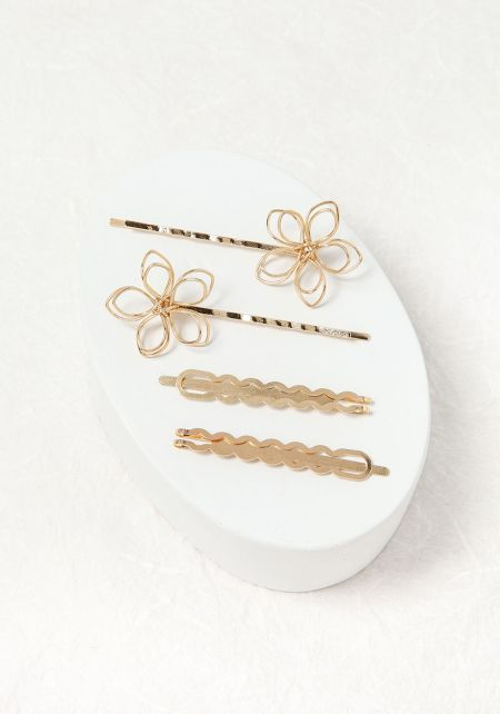 Gold Floral Assorted Hair Pin Set