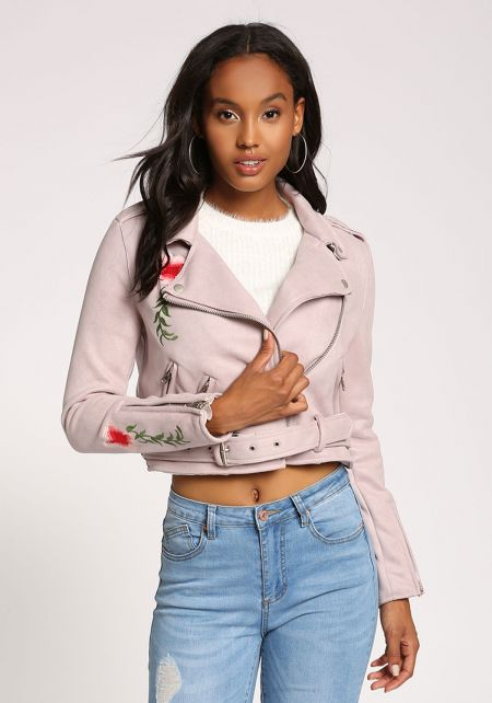 Lavender Faux Suede Floral Embroidered Moto Jacket