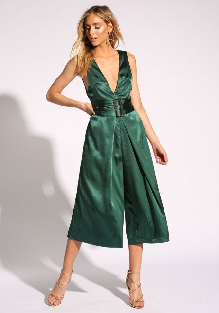 Hunter Green Luster Belted Culottes Jumpsuit