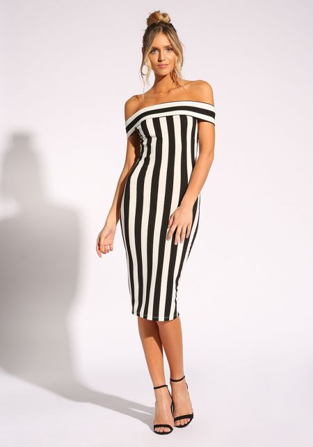 Black and Ivory Pinstripe Bodycon Dress