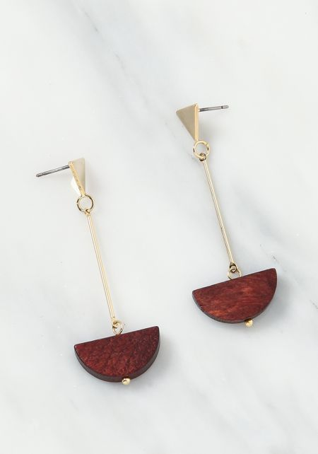 Brown Wooden Triangle Drop Earrings