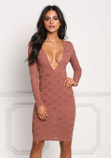 Mauve Plunge Mesh Diamond Bodycon Dress