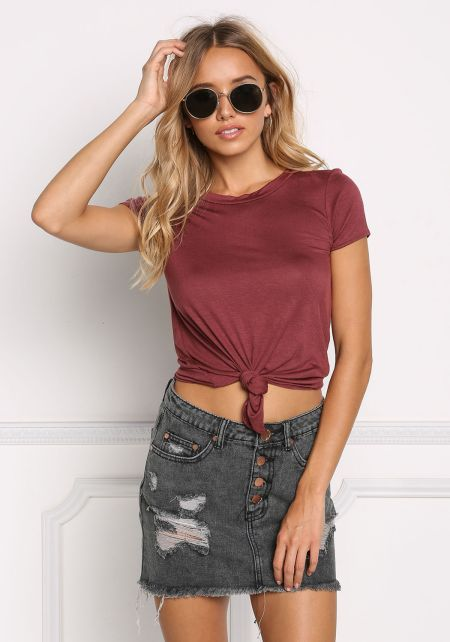Burgundy Knotted Jersey Knit Tee