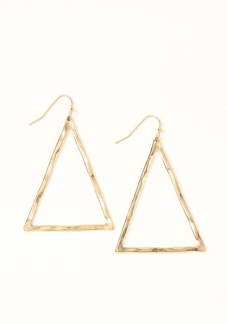 Gold Textured Triangle Earrings