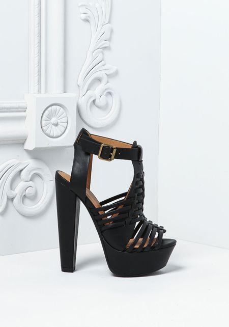 Black Leatherette Multi Strap Heels
