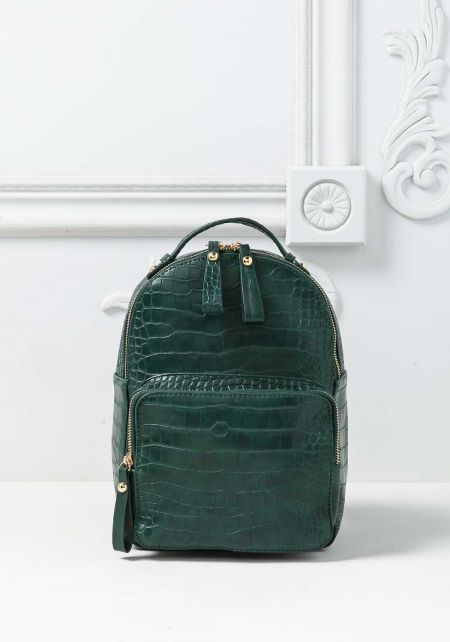 Green Leatherette Faux Snakeskin Backpack