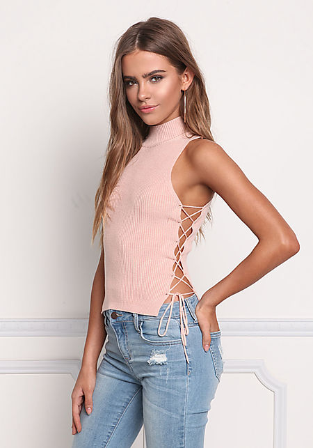 Blush Side Lace Up Ribbed Knit Tank Top