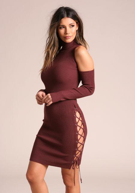 Burgundy Side Lace Up Cold Shoulder Bodycon Dress